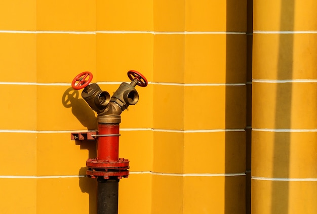 Red fire hydrant at antique yellow building.
