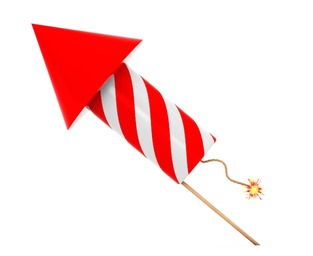 Red fireworks rocket on a white background. 3d rendering