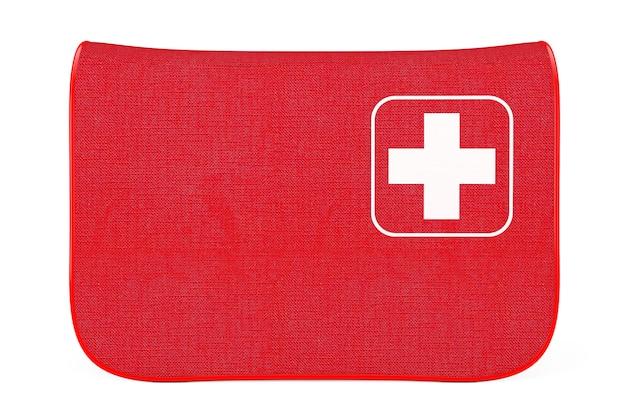Красная мягкая сумка для аптечки с белым крестом на белом фоне. 3d рендеринг