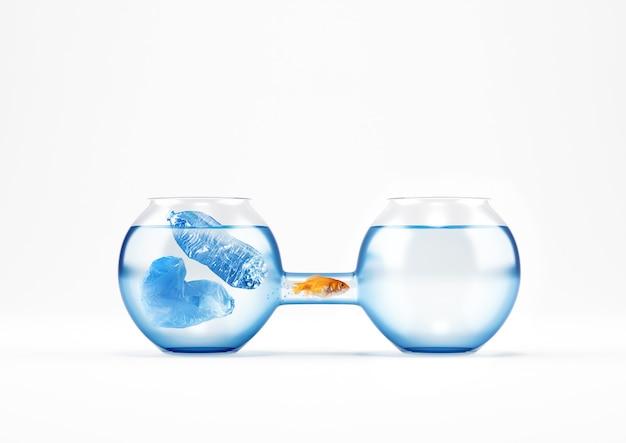 赤い魚は、汚染されたものから、海と海のプラスチック汚染というクリーンなクルートの概念に移行します