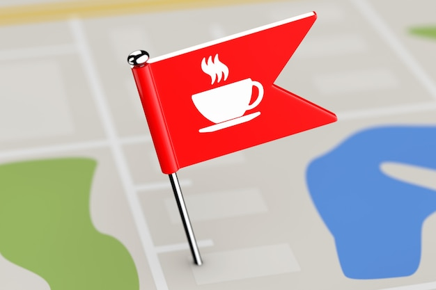 Красный флаг с иконой кофе на карте крайний крупным планом. 3d рендеринг