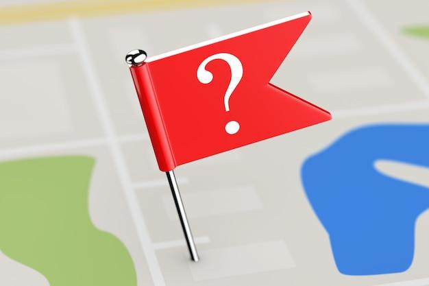 地図の背景に疑問符の付いた赤い旗極端なクローズアップ。 3dレンダリング