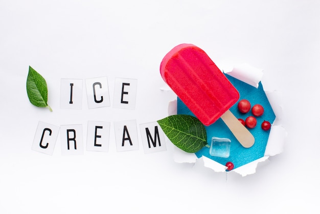 Red flavoured ice cream