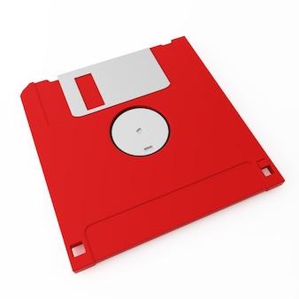 Red floppy disk back side on white