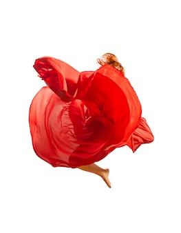 Red flower dancer leaping