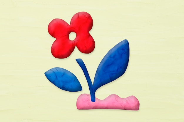 Red flower in plasticine clay style