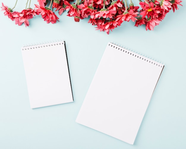 Red flowers border and spiral notepads on blue background