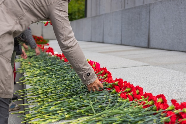 Красные цветы в память о жертвах мировой войны в день победы