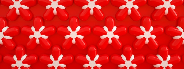 Red flowers pattern, 3d render, party supplies panoramic image