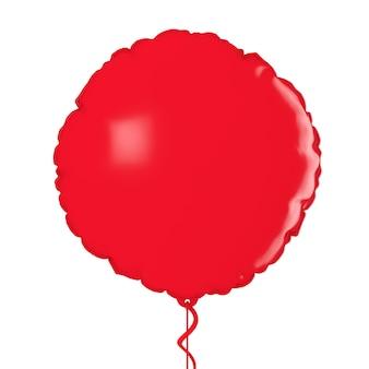 白い背景の上の赤いホイルバルーンモックアップ。 3dレンダリング