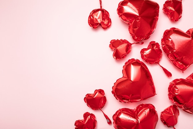 Red foil balloons for valentine's day holiday