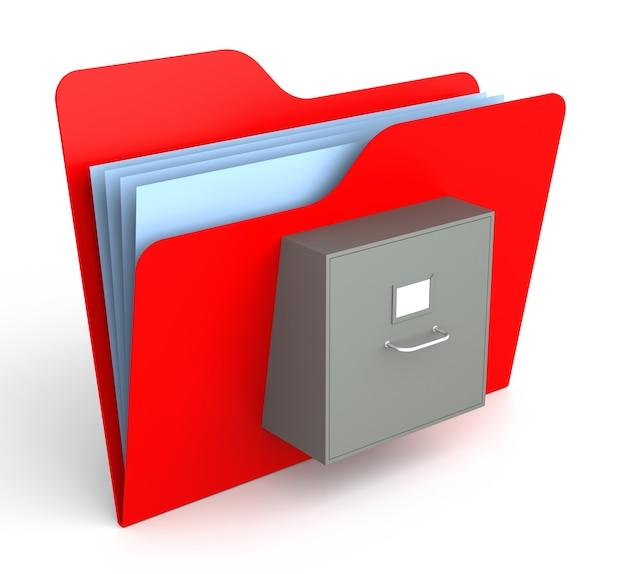 파일 캐비닛이 있는 빨간색 폴더. 격리 된 흰색 배경입니다. 3d 렌더링