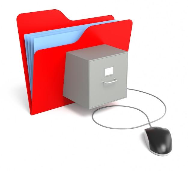 컴퓨터 마우스가 있는 파일 캐비닛이 있는 빨간색 폴더. 격리 된 흰색 배경입니다. 3d 렌더링