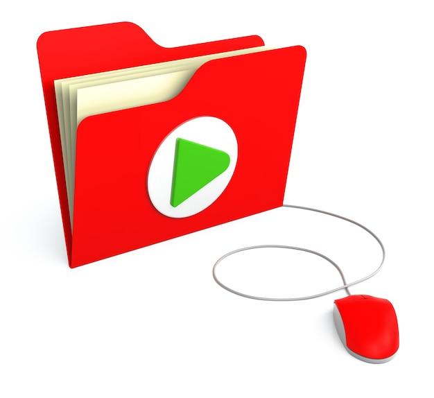 컴퓨터 마우스로 재생 버튼이 있는 빨간색 폴더