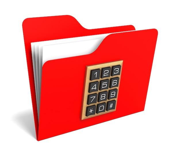 보안 버튼이 있는 빨간색 폴더. 3d 렌더링.