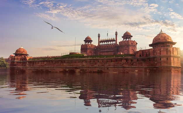 Red fort of delhi, fictional view, india.