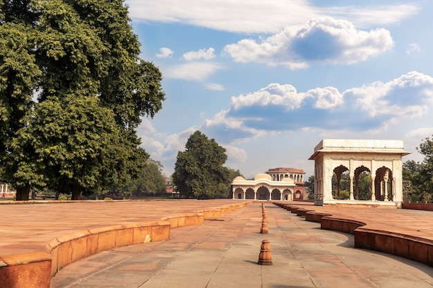 Red fort delhi inner courtyard, india, sunny day view.