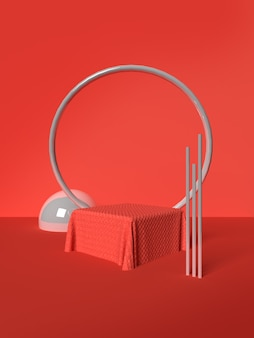 Red frame and ball scene with geometrical forms in 3d rendering premium