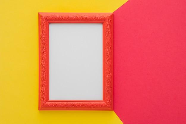 Red frame on bicolor background