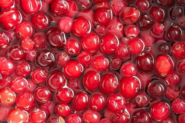 빨간색 신선한 크랜베리 배경 및 질감, 클로즈업, 위쪽 보기