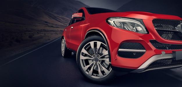 Красные передние автомобили, идущие по дороге.
