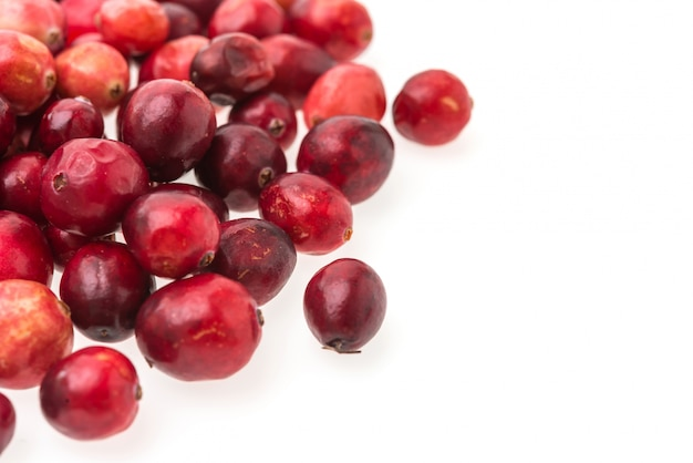 Red fruits on a white background