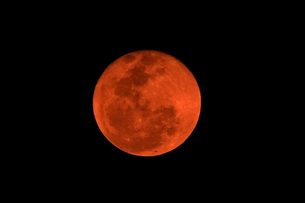 Red full moon, natural phenomenon lunar eclipse.