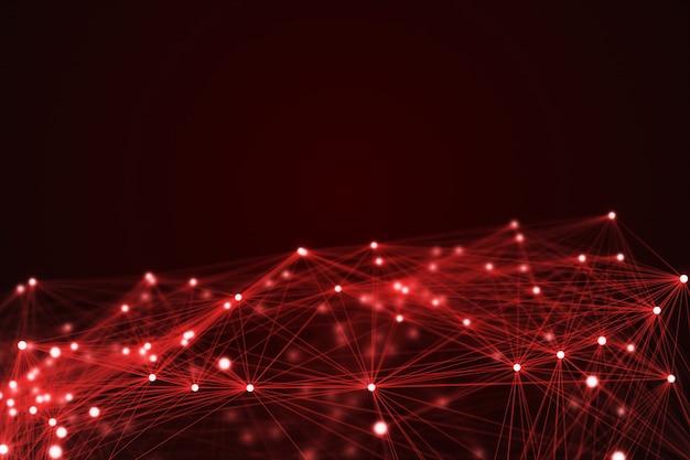 빨간 미래 기술 연결 모양입니다.