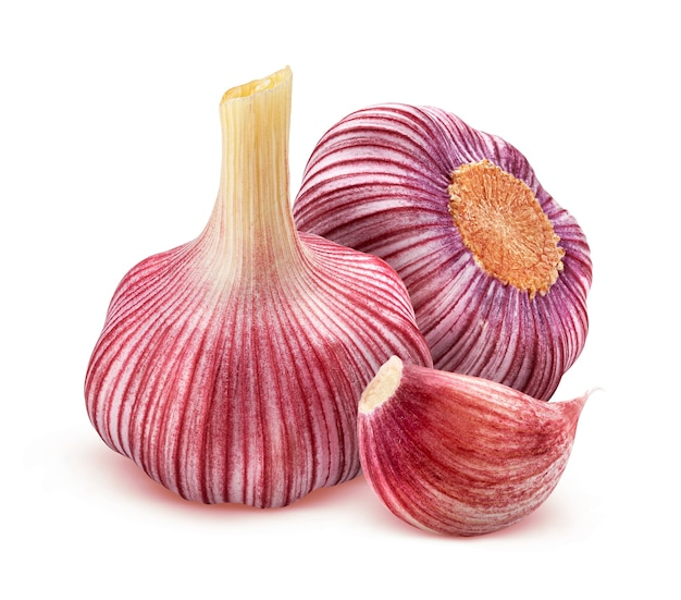 Red garlic isolated on white background with clipping path