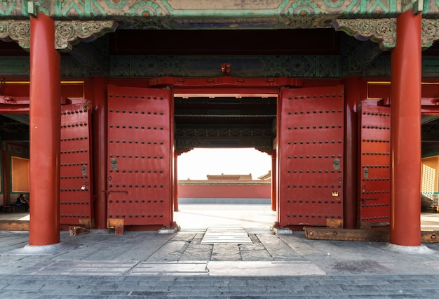 Red gates,ancient royal palaces of the forbidden city in beijing,china