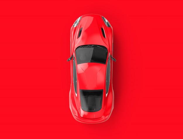 Красный универсальный автомобиль без марки на красной стене