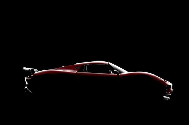 Красный универсальный спортивный автомобиль на черном