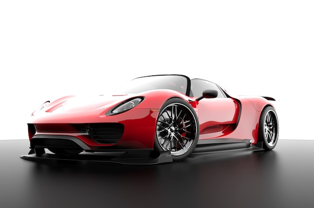 Красный универсальный спортивный автомобиль на белом