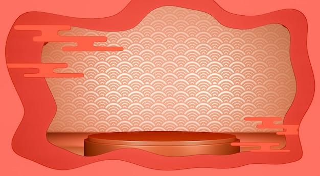 Красный геометрический подиум японские традиции подиум.