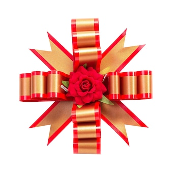 Red gift bow isolated on white