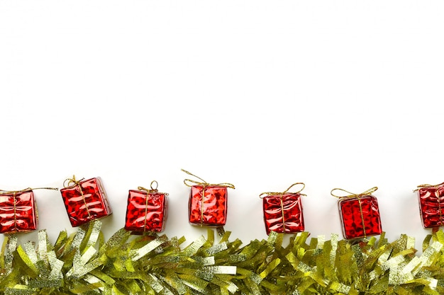 Red gift box of christmas decoration on white background.