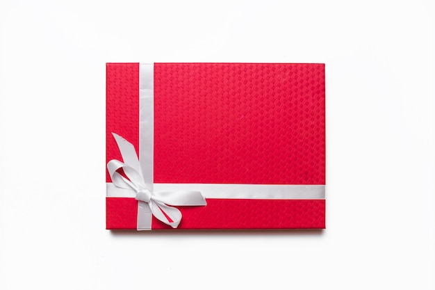 Red gift box on table
