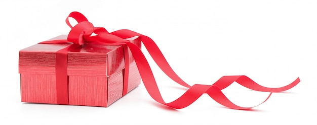 Red gift box on white isolated