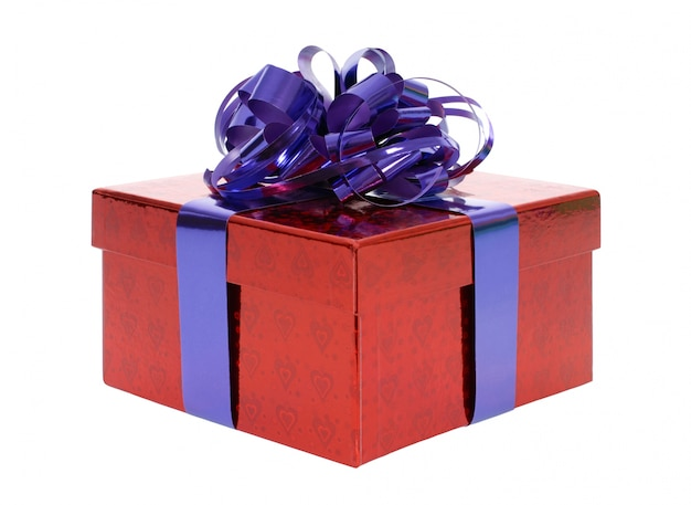 Red gift box with blue ribbon bow