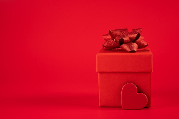 Red gift box with heart