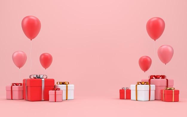리본과 파스텔 핑크 벽에 풍선 빨간색 선물 상자. 3d 렌더링