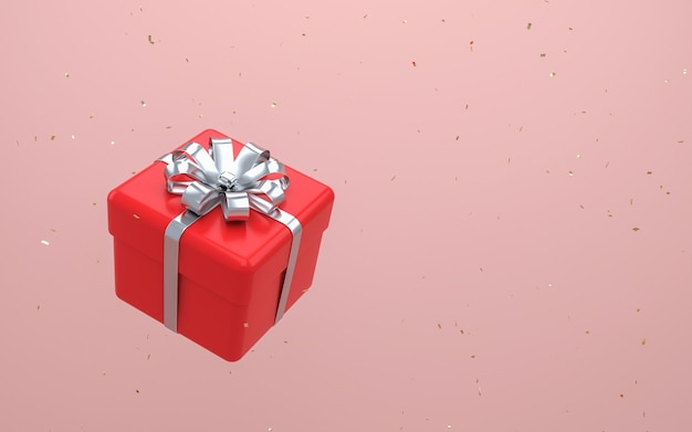 파스텔 핑크 wall.3d 렌더링에 뜨는 서핑 실버 리본 활 빨간색 선물 상자