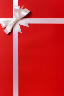 Red gift paper with silver ribbon