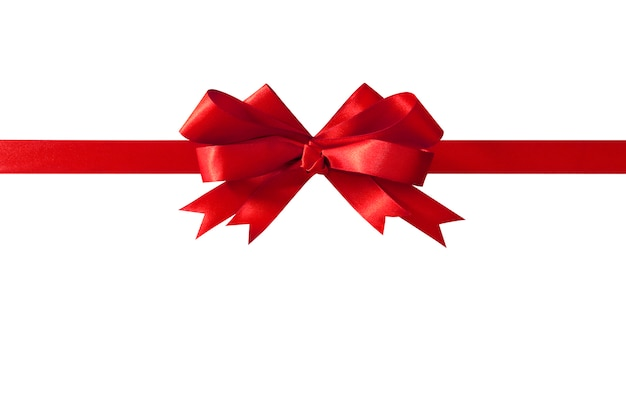 Red gift ribbon bow straight horizontal isolated on white.