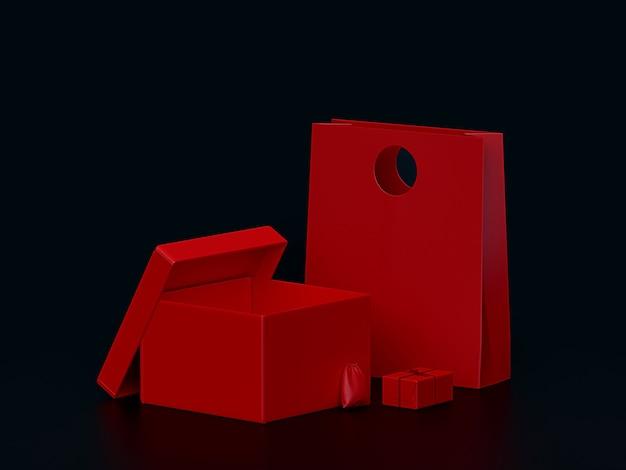 ボックスモックアップの赤いギフトセット
