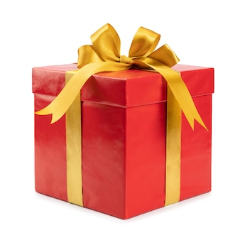 Red gift with golden bow