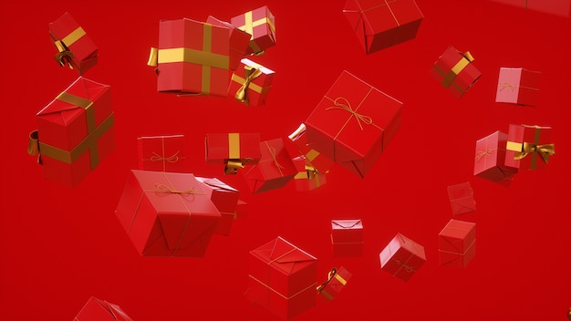 모든 경우에 빨간색 선물 온라인 쇼핑 소녀의 날 3d 렌더링