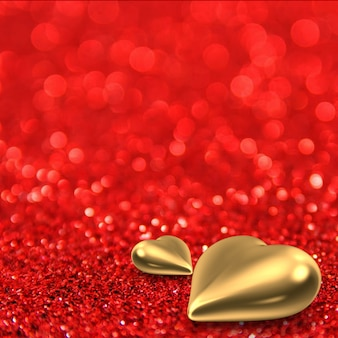 Red glitter background with golden hearts