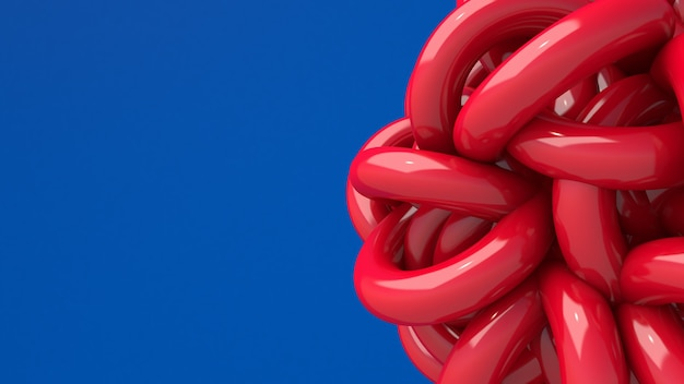 Красная глянцевая абстрактная форма. синий фон. 3d визуализация, крупный план.