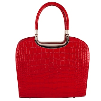 Red glossy female leather bag isolated